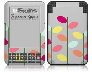 Plain Leaves On Gray - Decal Style Skin fits Amazon Kindle 3 Keyboard (with 6 inch display)