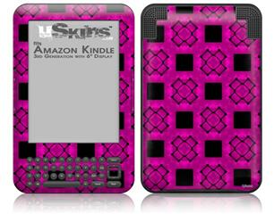 Criss Cross Pink - Decal Style Skin fits Amazon Kindle 3 Keyboard (with 6 inch display)