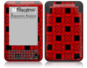 Criss Cross Red - Decal Style Skin fits Amazon Kindle 3 Keyboard (with 6 inch display)