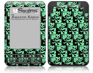 Skull Checker Green - Decal Style Skin fits Amazon Kindle 3 Keyboard (with 6 inch display)