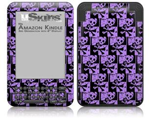Skull Checker Purple - Decal Style Skin fits Amazon Kindle 3 Keyboard (with 6 inch display)