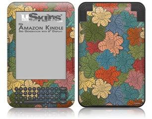 Flowers Pattern 01 - Decal Style Skin fits Amazon Kindle 3 Keyboard (with 6 inch display)