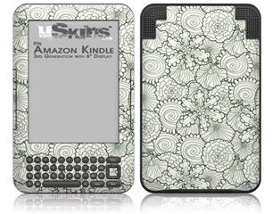 Flowers Pattern 05 - Decal Style Skin fits Amazon Kindle 3 Keyboard (with 6 inch display)