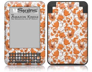Flowers Pattern 14 - Decal Style Skin fits Amazon Kindle 3 Keyboard (with 6 inch display)