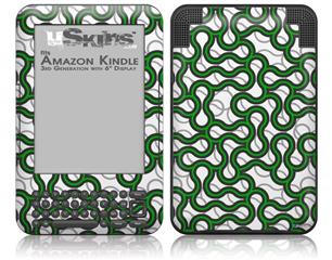 Locknodes 01 Green - Decal Style Skin fits Amazon Kindle 3 Keyboard (with 6 inch display)