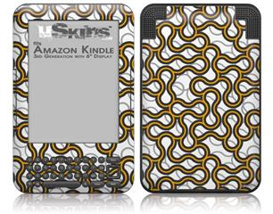 Locknodes 01 Orange - Decal Style Skin fits Amazon Kindle 3 Keyboard (with 6 inch display)