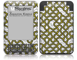 Locknodes 01 Yellow - Decal Style Skin fits Amazon Kindle 3 Keyboard (with 6 inch display)