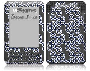Locknodes 02 Navy Blue - Decal Style Skin fits Amazon Kindle 3 Keyboard (with 6 inch display)
