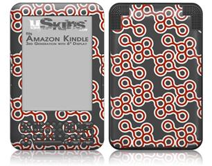 Locknodes 02 Red Dark - Decal Style Skin fits Amazon Kindle 3 Keyboard (with 6 inch display)