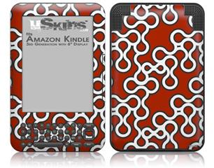 Locknodes 03 Red Dark - Decal Style Skin fits Amazon Kindle 3 Keyboard (with 6 inch display)
