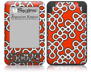 Locknodes 03 Red - Decal Style Skin fits Amazon Kindle 3 Keyboard (with 6 inch display)