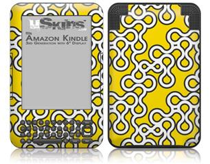Locknodes 03 Yellow - Decal Style Skin fits Amazon Kindle 3 Keyboard (with 6 inch display)