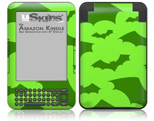 Deathrock Bats Green - Decal Style Skin fits Amazon Kindle 3 Keyboard (with 6 inch display)