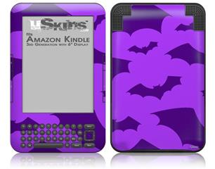 Deathrock Bats Purple - Decal Style Skin fits Amazon Kindle 3 Keyboard (with 6 inch display)