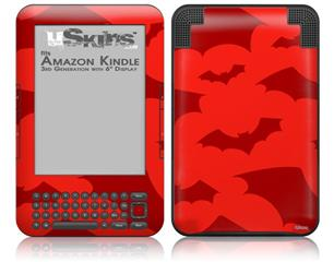 Deathrock Bats Red - Decal Style Skin fits Amazon Kindle 3 Keyboard (with 6 inch display)