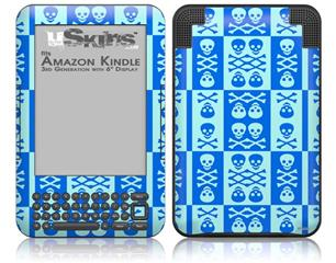 Skull And Crossbones Pattern Blue - Decal Style Skin fits Amazon Kindle 3 Keyboard (with 6 inch display)