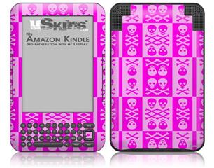 Skull And Crossbones Pattern Pink - Decal Style Skin fits Amazon Kindle 3 Keyboard (with 6 inch display)