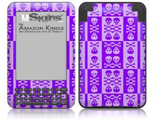 Skull And Crossbones Pattern Purple - Decal Style Skin fits Amazon Kindle 3 Keyboard (with 6 inch display)