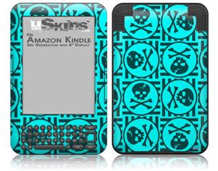 Skull Patch Pattern Blue - Decal Style Skin fits Amazon Kindle 3 Keyboard (with 6 inch display)