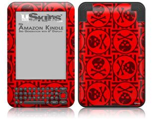 Skull Patch Pattern Red - Decal Style Skin fits Amazon Kindle 3 Keyboard (with 6 inch display)