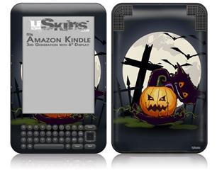 Halloween Jack O Lantern and Cemetery Kitty Cat - Decal Style Skin fits Amazon Kindle 3 Keyboard (with 6 inch display)