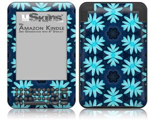 Abstract Floral Blue - Decal Style Skin fits Amazon Kindle 3 Keyboard (with 6 inch display)