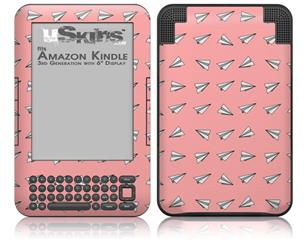Paper Planes Pink - Decal Style Skin fits Amazon Kindle 3 Keyboard (with 6 inch display)