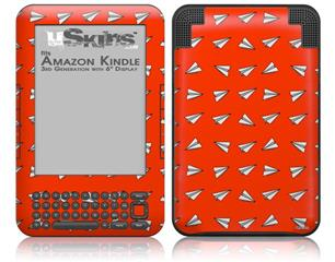 Paper Planes Red - Decal Style Skin fits Amazon Kindle 3 Keyboard (with 6 inch display)