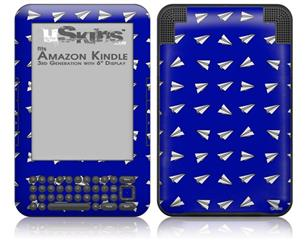 Paper Planes Royal Blue - Decal Style Skin fits Amazon Kindle 3 Keyboard (with 6 inch display)