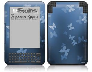 Bokeh Butterflies Blue - Decal Style Skin fits Amazon Kindle 3 Keyboard (with 6 inch display)
