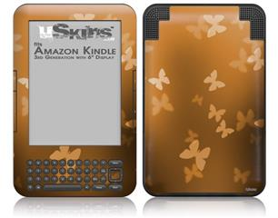 Bokeh Butterflies Orange - Decal Style Skin fits Amazon Kindle 3 Keyboard (with 6 inch display)