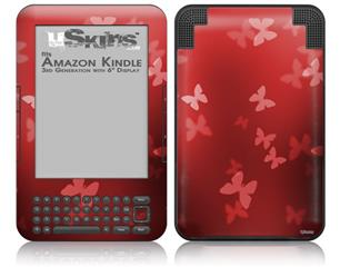 Bokeh Butterflies Red - Decal Style Skin fits Amazon Kindle 3 Keyboard (with 6 inch display)