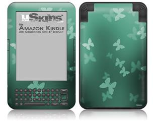 Bokeh Butterflies Seafoam Green - Decal Style Skin fits Amazon Kindle 3 Keyboard (with 6 inch display)
