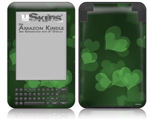 Bokeh Hearts Green - Decal Style Skin fits Amazon Kindle 3 Keyboard (with 6 inch display)