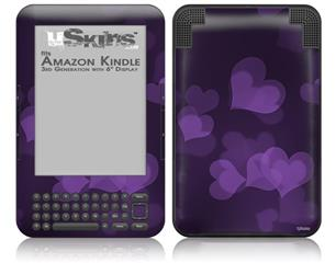 Bokeh Hearts Purple - Decal Style Skin fits Amazon Kindle 3 Keyboard (with 6 inch display)