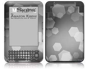 Bokeh Hex Grey - Decal Style Skin fits Amazon Kindle 3 Keyboard (with 6 inch display)