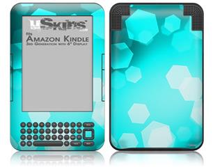 Bokeh Hex Neon Teal - Decal Style Skin fits Amazon Kindle 3 Keyboard (with 6 inch display)