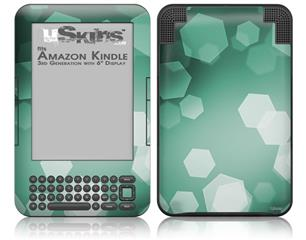 Bokeh Hex Seafoam Green - Decal Style Skin fits Amazon Kindle 3 Keyboard (with 6 inch display)