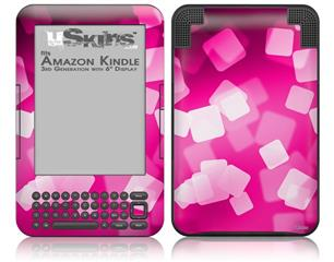 Bokeh Squared Hot Pink - Decal Style Skin fits Amazon Kindle 3 Keyboard (with 6 inch display)
