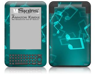Bokeh Music Neon Teal - Decal Style Skin fits Amazon Kindle 3 Keyboard (with 6 inch display)