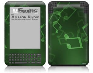 Bokeh Music Green - Decal Style Skin fits Amazon Kindle 3 Keyboard (with 6 inch display)