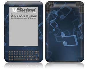 Bokeh Music Blue - Decal Style Skin fits Amazon Kindle 3 Keyboard (with 6 inch display)