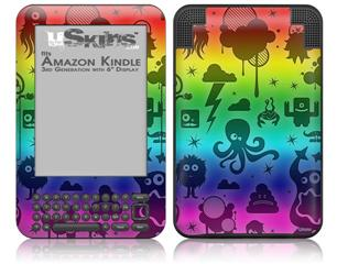 Cute Rainbow Monsters - Decal Style Skin fits Amazon Kindle 3 Keyboard (with 6 inch display)