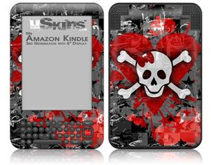 Emo Skull Bones - Decal Style Skin fits Amazon Kindle 3 Keyboard (with 6 inch display)