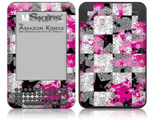 Checker Skull Splatter Pink - Decal Style Skin fits Amazon Kindle 3 Keyboard (with 6 inch display)