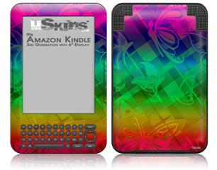 Rainbow Butterflies - Decal Style Skin fits Amazon Kindle 3 Keyboard (with 6 inch display)