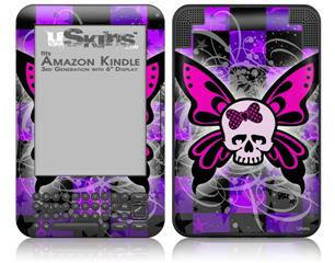 Butterfly Skull - Decal Style Skin fits Amazon Kindle 3 Keyboard (with 6 inch display)