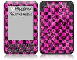 Pink Checkerboard Sketches - Decal Style Skin fits Amazon Kindle 3 Keyboard (with 6 inch display)