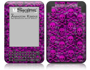 Pink Skull Bones - Decal Style Skin fits Amazon Kindle 3 Keyboard (with 6 inch display)