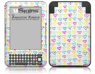 Kearas Hearts White - Decal Style Skin fits Amazon Kindle 3 Keyboard (with 6 inch display)